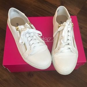 White and Gold Zip Sneakers
